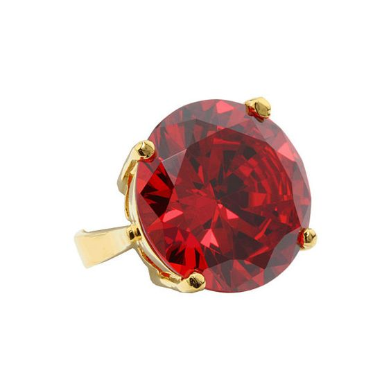 Noir Jewelry - Classic CZ Ring (Red/ Gold) - Jewelry (3.145 RUB) ❤ liked on Polyvore featuring jewelry, rings, accessories, anelli, women's jewelry, cz gold rings, cz rings, cocktail ring, cubic zirconia rings and red ring