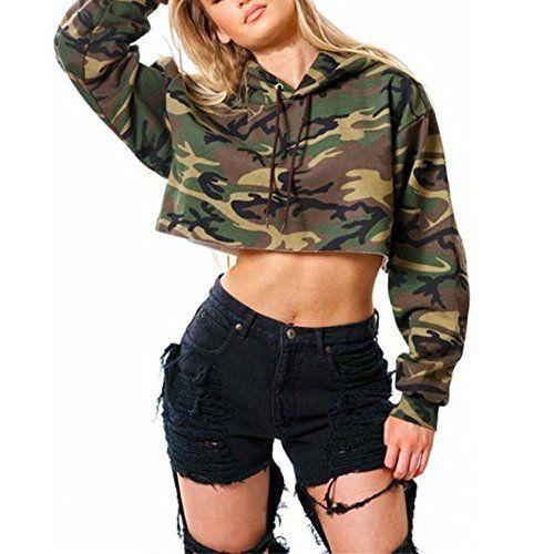 Fashion Women Hooded Camouflage Casual Long Sleeves Hoodie Sweatshirt Jumper Top