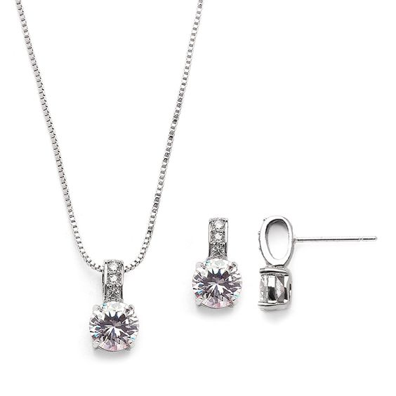 5 Sets Delicate Silver Plated CZ Bridesmaid Jewelry your bridal party will love…: