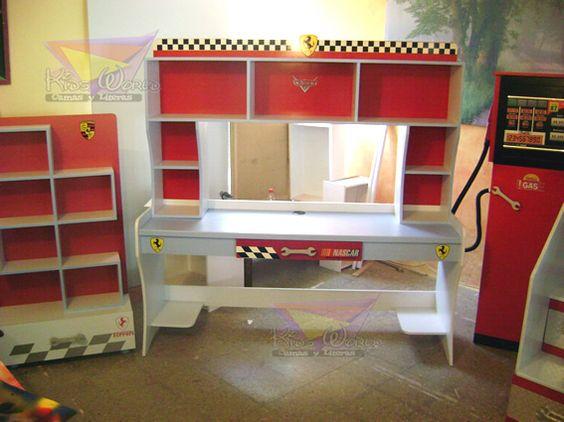 kidsworld.2000@yahoo.com.mx, 01442 690 48 41 Y WHATSAPP 442 323 98 27... COMPLEMENTOS IDEALES PARA SU HABITACIÓN #escritorios #jugueteros #bombasdegasolina #repisas #bombadespachadora #rojo #azul #pits #Ferrari #mueblesparaniños #mueblecitos #libreros