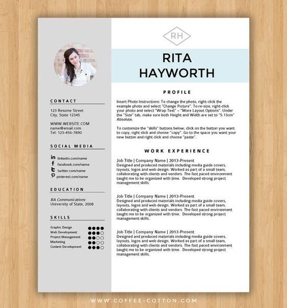 Resume Template / CV Template + Free Cover Letter for MS Word - Cv Example