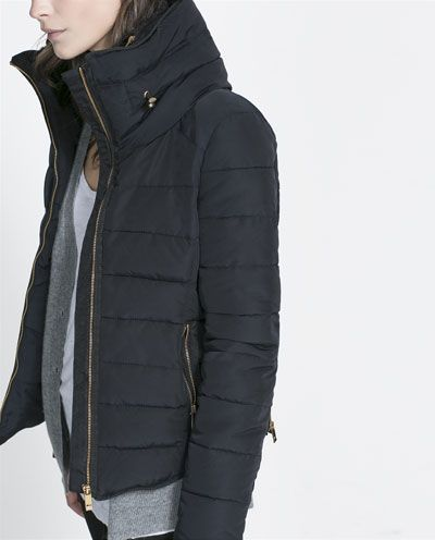 Zara Combined Puffer Anorak Jacket In Navy With Gold