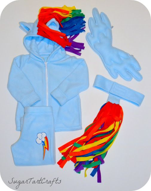 parts of rainbow dash costume hoodie with ears and mane