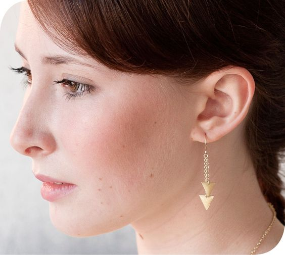 Image of Triangle Enamel and Brass Chain Earrings
