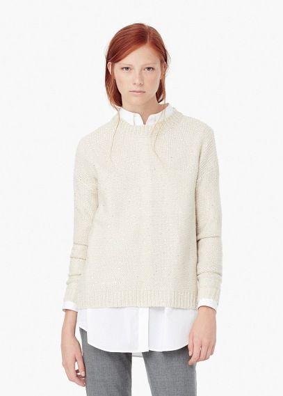 Sweter z koralikami i cekinami | MANGO
