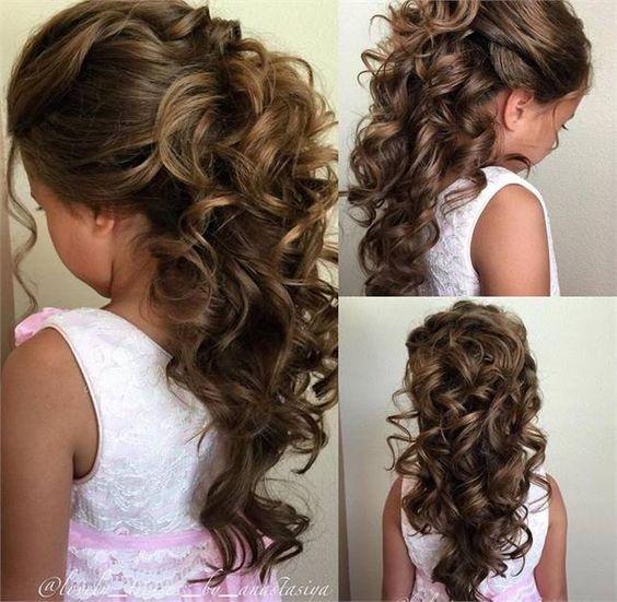 Risos Risos 15 Ideas Con Encantadores Peinados Para Bautizo Y Primera Comunion Kids Hairstyles For Wedding Flower Girl Hairstyles Girl Hair Dos