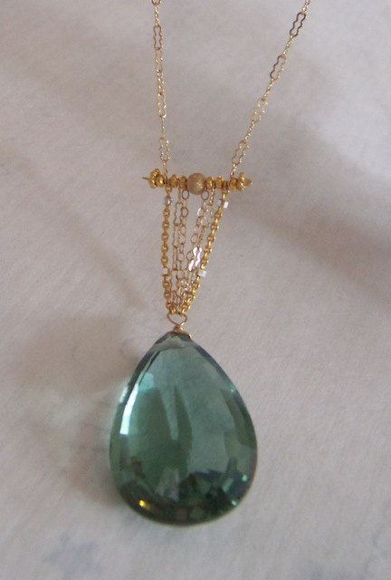 Green Topaz & Gold Filled Chain Necklace by HalliesComet on Etsy, $136.00