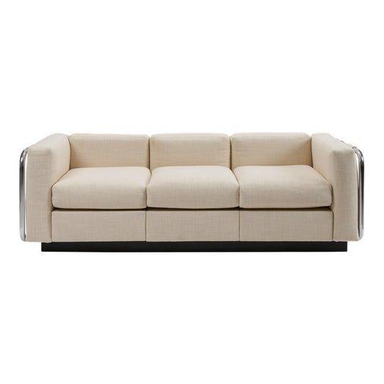 Mid Century Tubular Chrome Wool Platform Tuxedo Sofa Midcentury