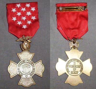 The Brevet Medal was a military decoration of the U.S. Marine Corps that was a one-time issuance and retroactively recognized living Marine Corps officers who had received a brevet rank.   A brevet promotion or brevet is the advancement in rank without the advancement in either pay grade or position.  Recipients of the medal had received field commissions as Marine Corps officers, under combat conditions, and had performed feats of distinction and gallant service.