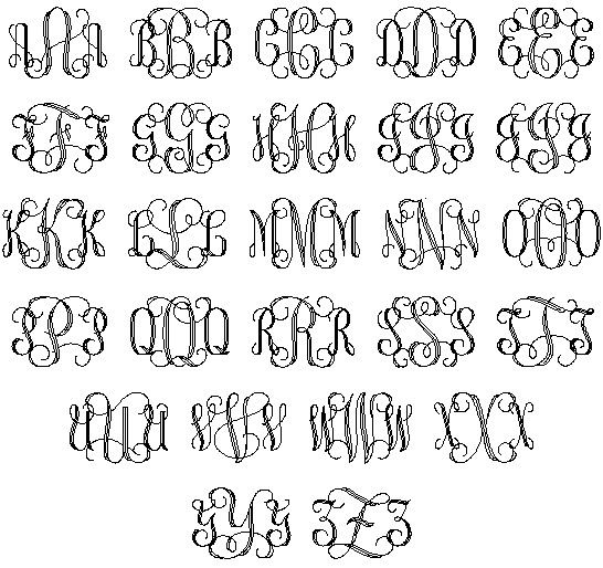Templates for hand drawn monograms monogram initial for Free monogram template
