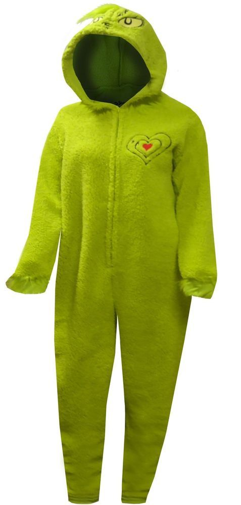 Seuss How The Grinch Stole Christmas Costume Hooded Womens Unionsuit Pajama Dr
