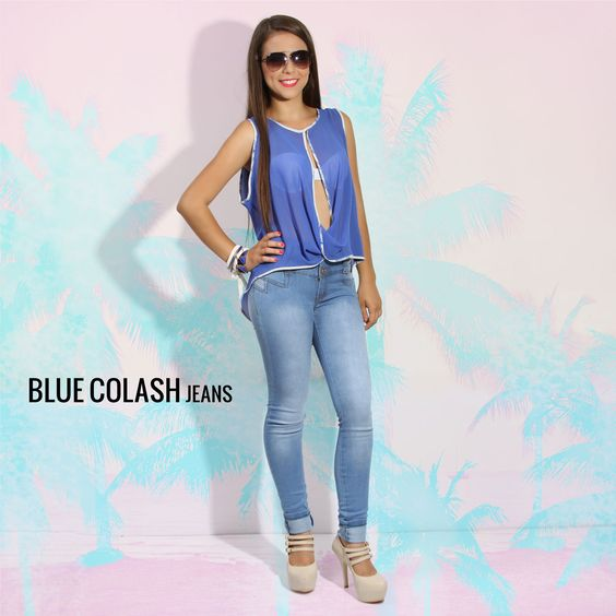 BLUE COLASH JEANS | PALM TREE | Pinterest