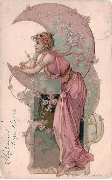 Woman with Moon - Art Nouveau style post card from 1903.  So elegant and lovely.