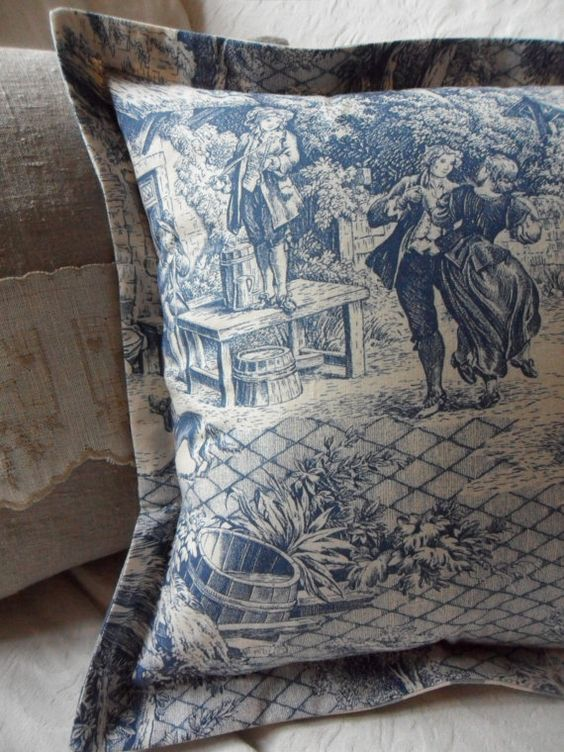 Blue French Toile De Jouy And Blue Checked Cushion