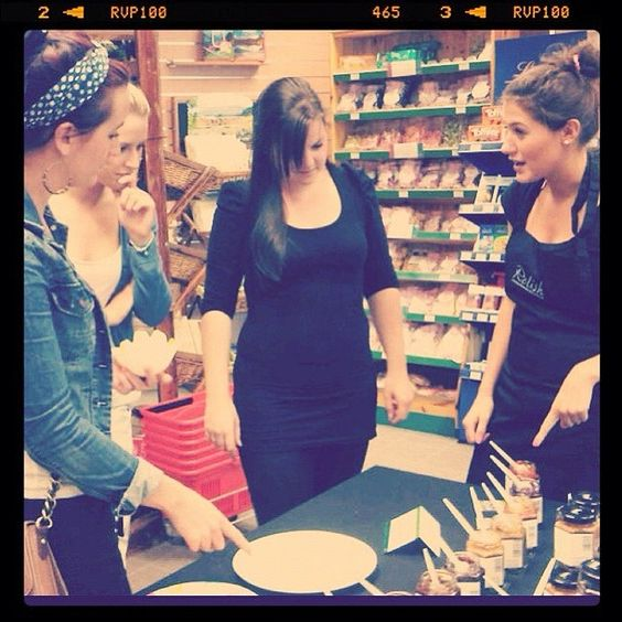 Katie B talks Relish to friends at tasting, Hayes Garden World #Ambleside
