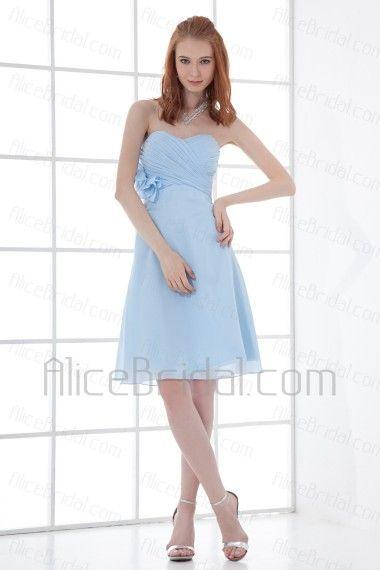 Chiffon Sweetheart A-line Knee-length Hand-made Flower Cocktail Dress - Alice Bridal