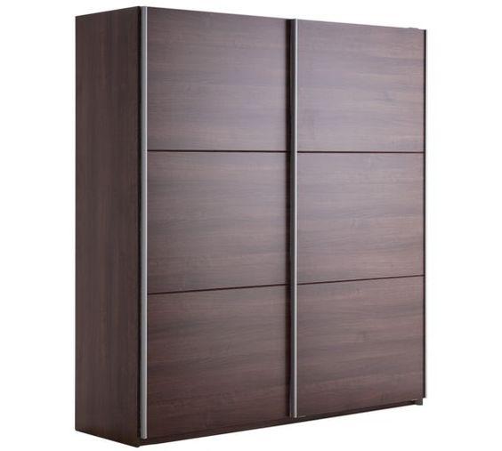 buy hygena bergen 2 door large sliding wardrobe walnut. Black Bedroom Furniture Sets. Home Design Ideas