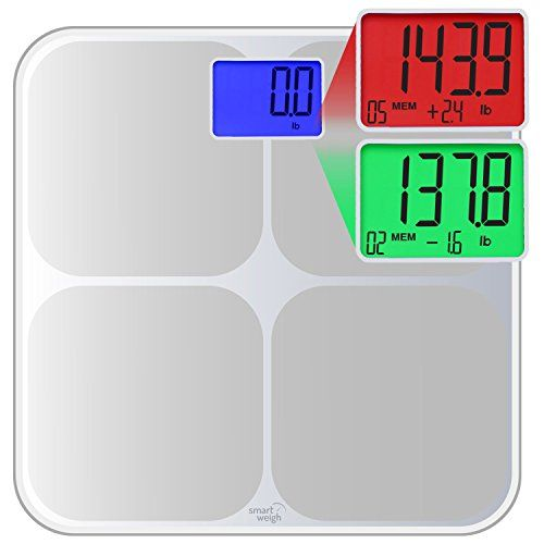 Smart Weigh SMS500 Digital Bathroom Scale, High Accuracy, Dual Color Weight Change Detection and Smart Step-On Auto Recognition for 8 Users, Silver | http://activelifeessentials.com/health-and-fitness/scales/smart-weigh-sms500-digital-bathroom-scale-high-accuracy-dual-color-weight-change-detection-and-smart-step-on-auto-recognition-for-8-users-silver