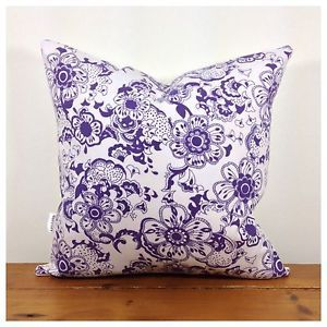 Vintage Retro Purple Cushion Cover, Lined & Backed in Organic Fabric 16""