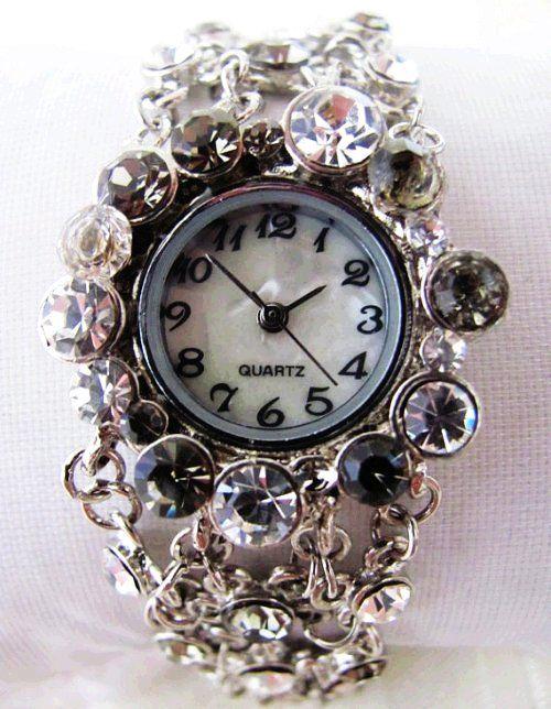 Unique Stylish Lady Crystal Bracelet Wrist Watch