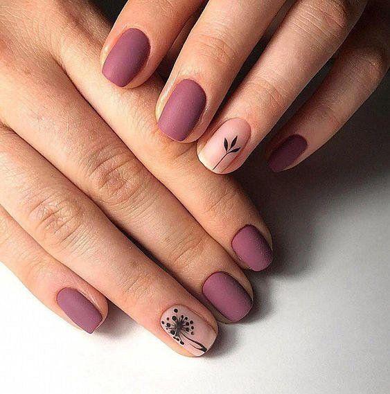 Матовые ногти фото дизайна с цветами и другими рисунками