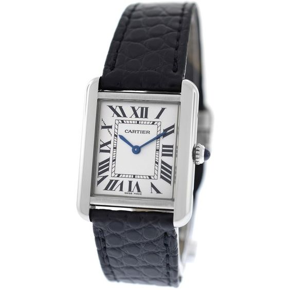 Pre-owned Cartier Tank Solo 2716 Stainless Steel Quartz Watch (7,480 SAR) ❤ liked on Polyvore featuring jewelry, watches, accessories, stainless steel jewellery, cartier watches, stainless steel watches, preowned jewelry and stainless steel jewelry
