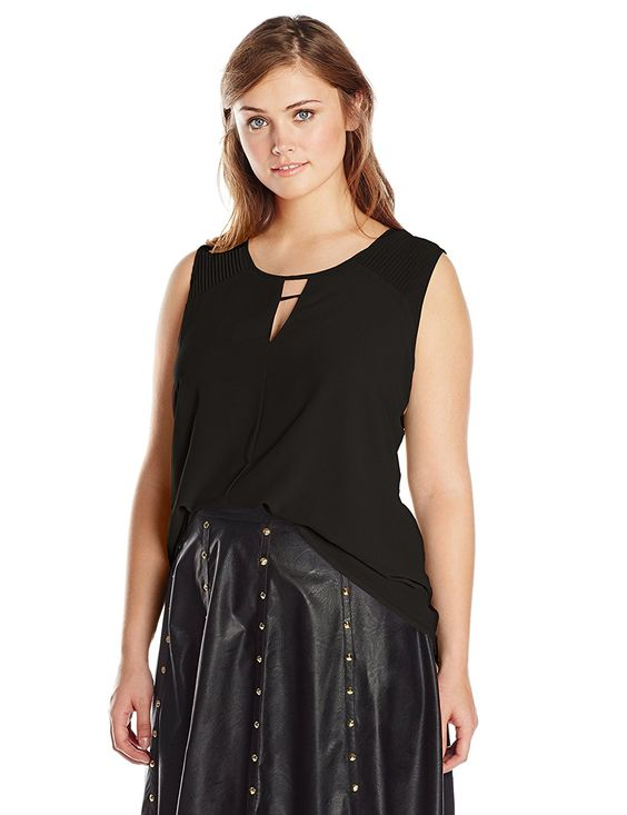 Modamix Women's Plus-Size Sleeveless Woven Pleated Top -- See this awesome image  : Plus size shirts