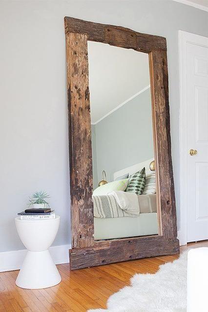 Rustic Reclaimed Wood Floor Mirror, Wood Rustic Mirror