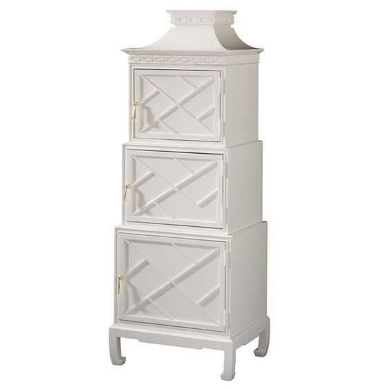 Lilly Pulitzer Etagere, I would love a pair of these at the beach. Fabulous Chinese chippendale with pagoda bonnet...Fun!