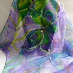 2c660afd88e7 Nouveauté foulard écharpe en mousseline de soie peint main papillons