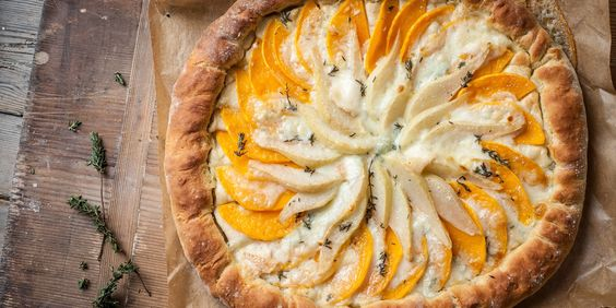 This butternut squash flatbread tart by Adam Byatt comes complete with an extra treat - a Gorgonzola-stuffed crust