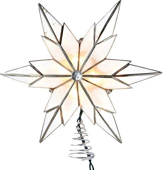10 Light Capiz Star Treetop with Gem Center