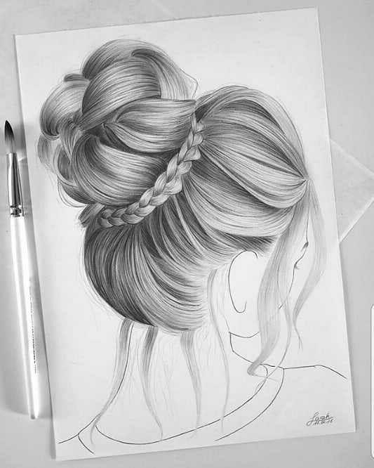 Beautiful Bun Pencil Art Drawings Girly Drawings Art Drawings