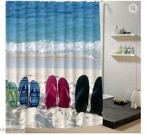 Summer Beach Shower Curtain Beige Fabric Polyester 3d Bathroom