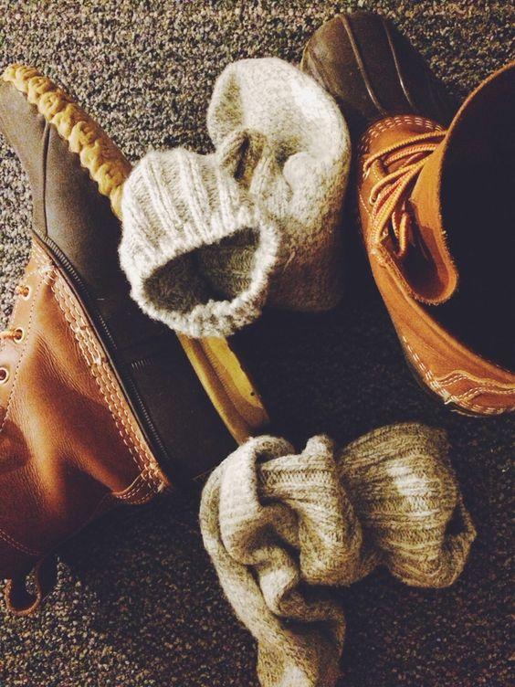 bean boots & cozy socks