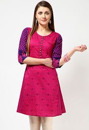 Pink coloured, printed kurta for women from the house of Anahi. Made from cambric, this knee-length kurta features 3/4th sleeves and a round neck.