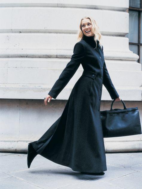 Ladies long black winter coat