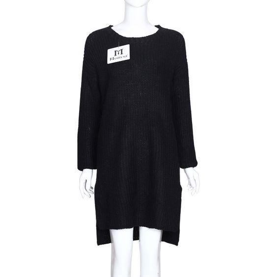 Women Sweater Dress Autumn Winter 2016 New Fashion Long Sleeve Dress Large Size Women Knitted Dresses Black Blue Gray Green