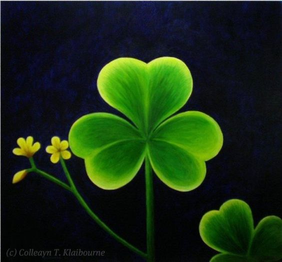 The Luck of the Irish! This Shamrock is painted with Acrylic paints.