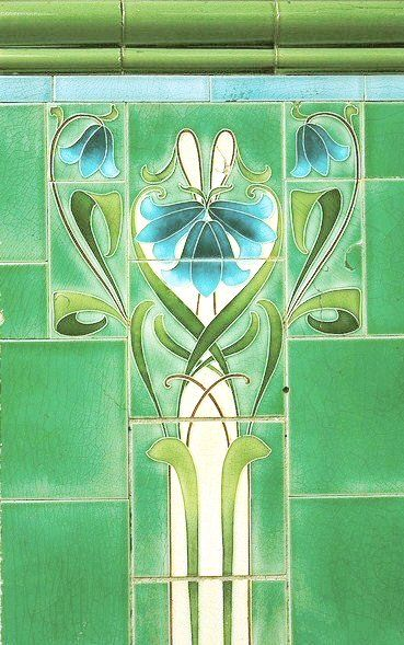 Art nouveau tile can you see the heart shape jv art for Art nouveau shapes