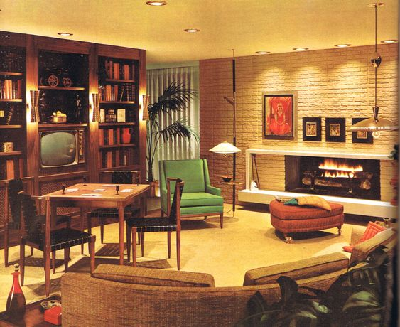 Living rooms modern furniture and the fireplace on pinterest for 60s apartment design