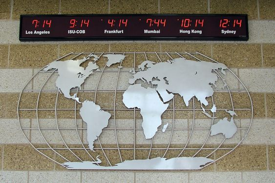 Aluminum Map Mural w/ World Clock