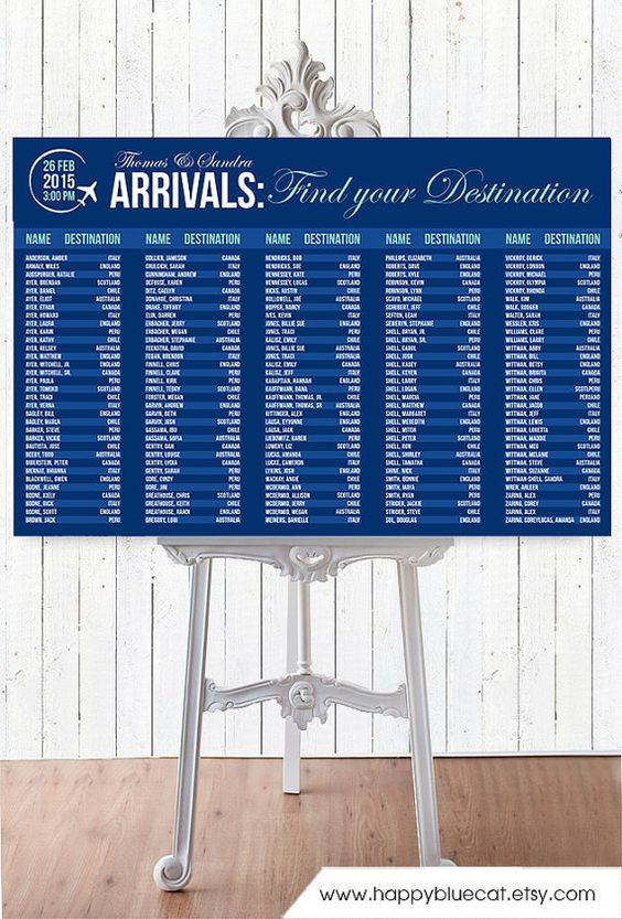 Wedding Seating Chart RUSH SERVICE Arrivals by HappyBlueCat