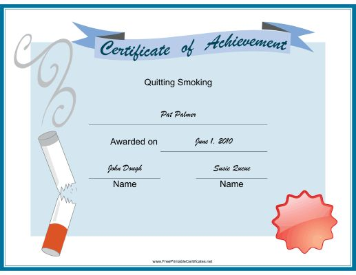 Celebrate quitting smoking with this printable certificate of – Free Certificate of Achievement