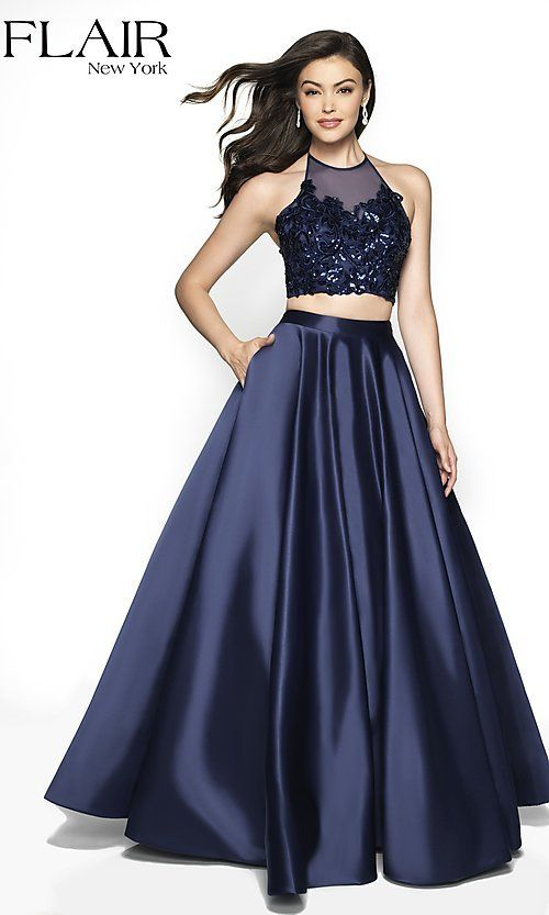 Long Two-Piece A-Line Halter Prom Dress by FLAIR   Plus size ...
