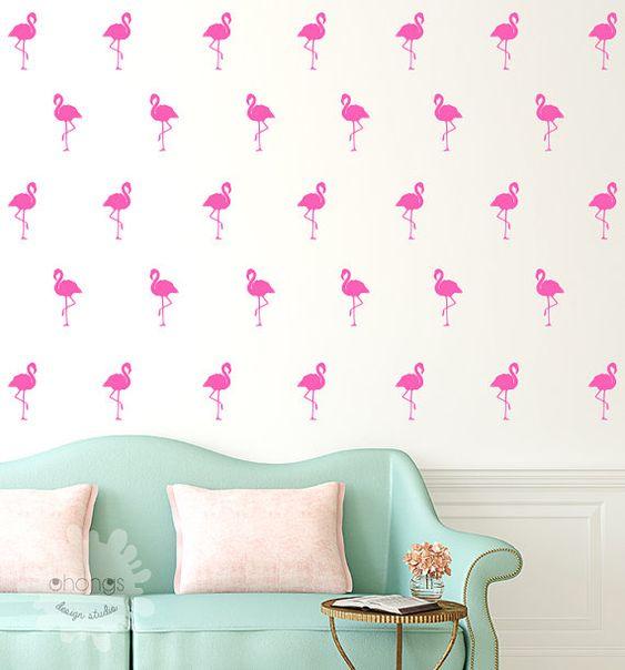 Flamant Wall Decal / 40 Flamingo autocollant / décor à domicile / bureau Decor / Nursery Wall Decal