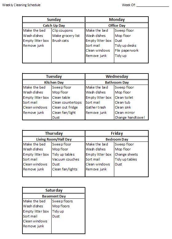 make week schedule