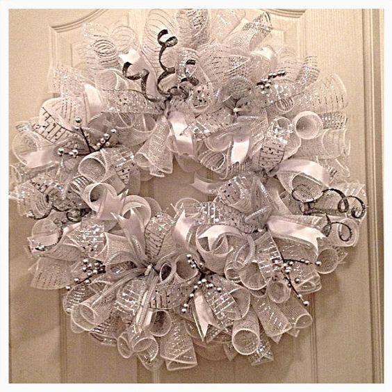 Elegant Wedding Silver and White Deco Mesh Wreath/ Wedding Wreath/Silver Wreath/White Wreath/Wedding Deco Mesh Wreath