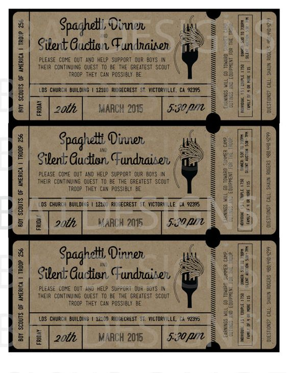 Fundraiser Ticket Design Spaghetti Dinner Silent by BAJDESIGNS – How to Make Tickets for a Fundraiser