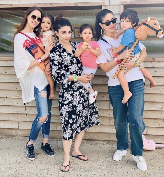 Kareena, her son Tiamur, her sister-in-law Soha Ali Khan, her niece Inaaya and someone named Prianka Singha with a child I have never heard of